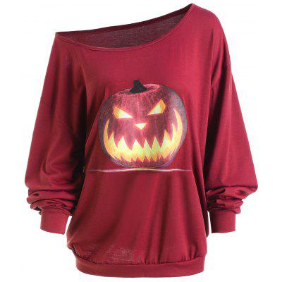 Buy WINE RED 2XL Plus Size Halloween Angry Pumpkin Skew Neck Tee for $18.06 in GearBest store