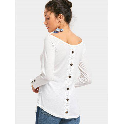 Button Embellishment Long Sleeve Tee