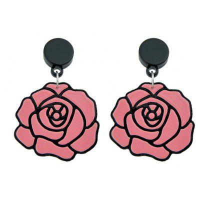 Acrílico Big Rose Stud Earrings