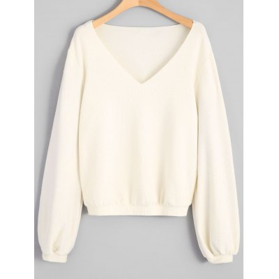 V Neck Ribbed Long Sleeve Top