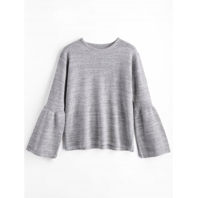 Crew Neck Flare Sleeve Cuff Sweater