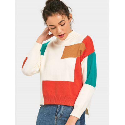 Side Slit Contrast High Low Sweater