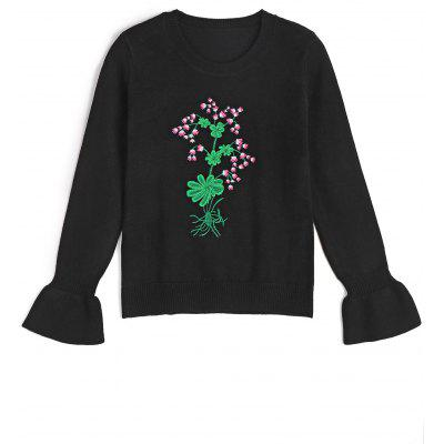 Embroidered Ruffled Sleeve Pullover Sweater