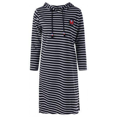 Hooded Striped Mini T-shirt Dress