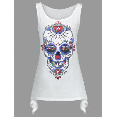 Buy WHITE XL Skull Halloween Plus Size Asymmetric Tank Top for $14.90 in GearBest store
