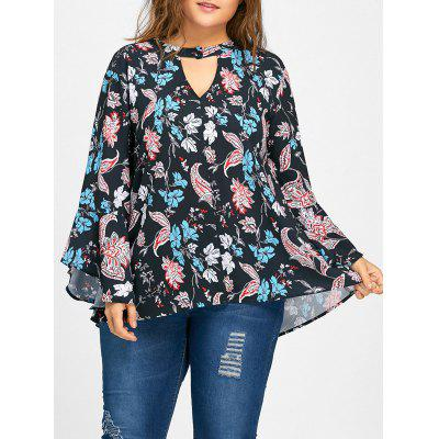Keyhole Bell Sleeve Floral Print Plus Size Blouse