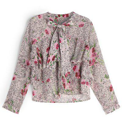 Star Floral Bowknot Layers Blouse