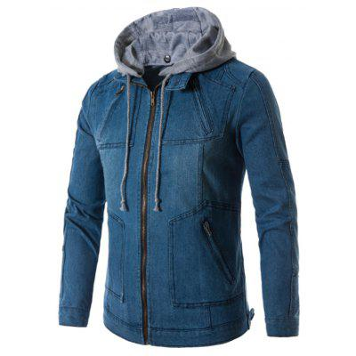 Buy DENIM BLUE 2XL Hooded Zip Up Pockets Denim Jacket for $48.42 in GearBest store
