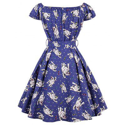 Off The Shoulder Cat Print Swing DressWomens Dresses<br>Off The Shoulder Cat Print Swing Dress<br><br>Dresses Length: Knee-Length<br>Material: Cotton, Polyester, Spandex<br>Neckline: Off The Shoulder<br>Package Contents: 1 x Dress  1 x Belt<br>Pattern Type: Animal<br>Season: Spring, Fall<br>Silhouette: A-Line<br>Sleeve Length: Short Sleeves<br>Style: Vintage<br>Weight: 0.4000kg<br>With Belt: Yes