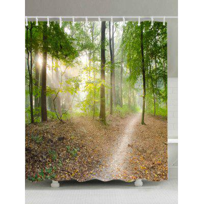 Forest Track Print Fabric Waterproof Shower Curtain