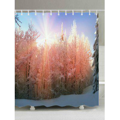 Sunlight Snow Forest Print Fabric Waterproof Bathroom Shower Curtain