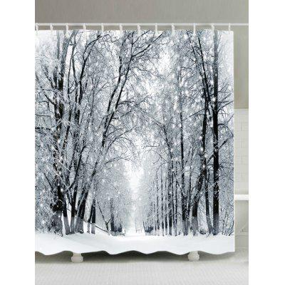 Snowy Forest Path Print Fabric Waterproof Bathroom Shower Curtain