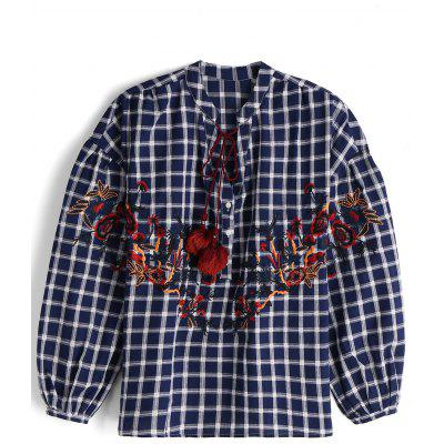 Checked Floral Embroidery Tassels Shirt