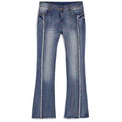 Buy DENIM BLUE M Ninth Frayed Bleach Wash Boot Cut Jeans for $31.19 in GearBest store