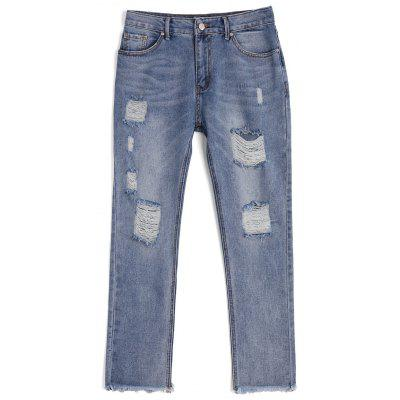 Buy DENIM BLUE L Ninth Destroyed Frayed Pencil Jeans for $33.29 in GearBest store