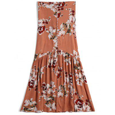 Button Up Front Slit Floral A Line Skirt