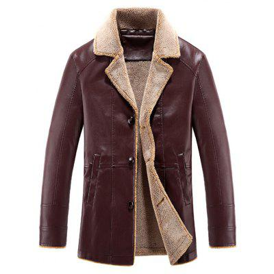 Buy WINE RED 4XL Turndown Collar Fleece Single Breasted PU Leather Jacket for $79.61 in GearBest store