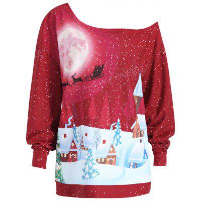 Buy BRIGHT RED 3XL Plus Size Christmas Evening Printed Skew Neck Sweatshirt for $20.96 in GearBest store