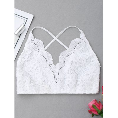 Buy WHITE M Crisscross Scalloped Lace Bralette for $12.65 in GearBest store