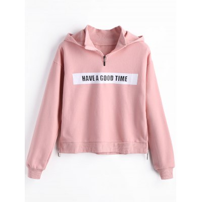 Buy PINK L Fleece Have a Good Time Graphic Hoodie for $32.12 in GearBest store