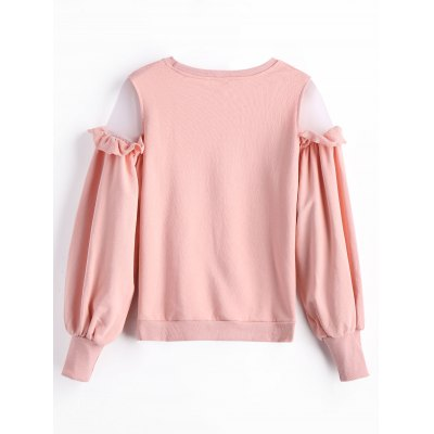 Frilled Tulle Panel Crew Neck SweatshirtSweatshirts &amp; Hoodies<br>Frilled Tulle Panel Crew Neck Sweatshirt<br><br>Clothing Style: Sweatshirt<br>Material: Cotton, Polyester<br>Package Contents: 1 x Sweatshirt<br>Pattern Style: Solid<br>Shirt Length: Regular<br>Sleeve Length: Full<br>Weight: 0.5000kg
