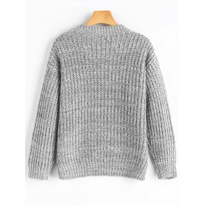 Drop Shoulder Chunky Pullover SweaterSweaters &amp; Cardigans<br>Drop Shoulder Chunky Pullover Sweater<br><br>Collar: Crew Neck<br>Material: Acrylic, Polyester<br>Package Contents: 1 x Sweater<br>Sleeve Length: Full<br>Style: Casual<br>Type: Pullovers<br>Weight: 0.5300kg