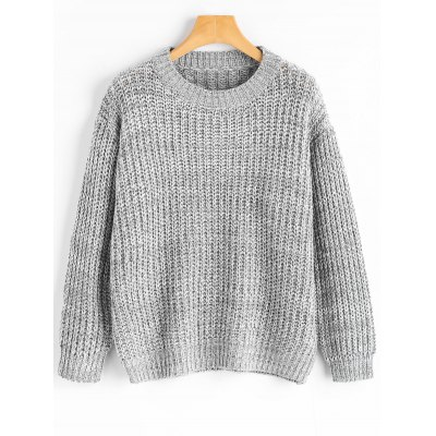 Gray Drop Shoulder Chunky Pullover Sweater ONE SIZE-$27.72 Online ...