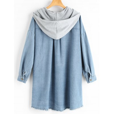 Frayed Hem Hooded Denim Coat with PocketJackets &amp; Coats<br>Frayed Hem Hooded Denim Coat with Pocket<br><br>Collar: Hooded<br>Embellishment: Frayed,Pockets<br>Material: Jeans, Polyester<br>Package Contents: 1 x Coat<br>Pattern Type: Patchwork<br>Shirt Length: Long<br>Sleeve Length: Full<br>Style: Casual<br>Type: Wide-waisted<br>Weight: 0.8700kg