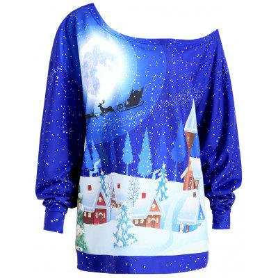 Buy ROYAL 2XL Plus Size Christmas Evening Printed Skew Neck Sweatshirt for $20.96 in GearBest store