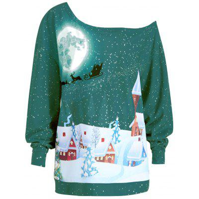Buy GREEN XL Plus Size Christmas Evening Printed Skew Neck Sweatshirt for $20.96 in GearBest store