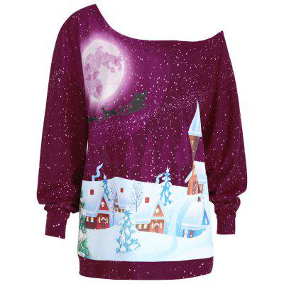 Buy WINE RED 4XL Plus Size Christmas Evening Printed Skew Neck Sweatshirt for $20.96 in GearBest store