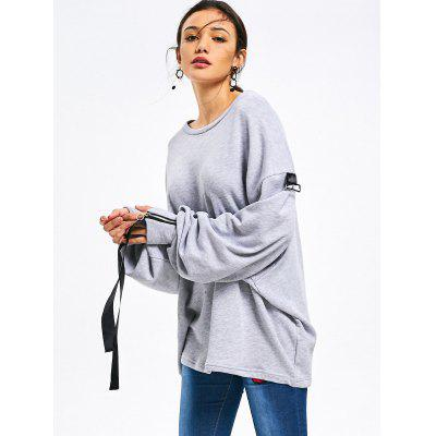 Oversized Bow Tied Sleeve Longline SweatshirtSweatshirts &amp; Hoodies<br>Oversized Bow Tied Sleeve Longline Sweatshirt<br><br>Clothing Style: Sweatshirt<br>Material: Cotton, Polyester<br>Package Contents: 1 x Sweatshirt<br>Pattern Style: Solid<br>Shirt Length: Long<br>Sleeve Length: Full<br>Weight: 0.5400kg