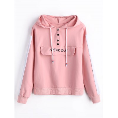 Speak Out Graphic Snap-button Hoodie