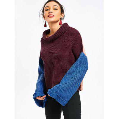 Turtleneck Color Block Oversized SweaterSweaters &amp; Cardigans<br>Turtleneck Color Block Oversized Sweater<br><br>Collar: Turtleneck<br>Material: Acrylic, Cotton, Polyester<br>Package Contents: 1 x Sweater<br>Pattern Type: Patchwork<br>Sleeve Length: Full<br>Style: Fashion<br>Type: Pullovers<br>Weight: 0.7900kg