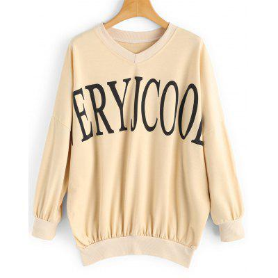 Buy APRICOT XL Letter Oversized V Neck Sweatshirt for $20.31 in GearBest store