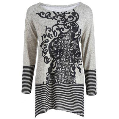 Plus Size Striped Geometric Jacquard Asymmetrical Knitwear