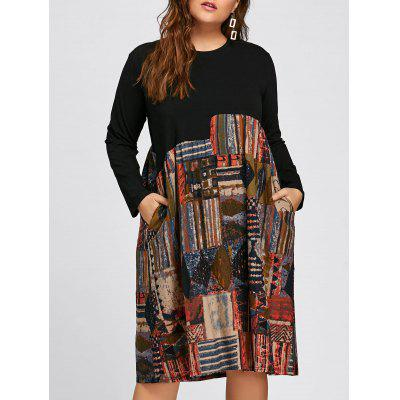 Plus Size Abstract Printed Long Sleeve Midi Trapeze Dress