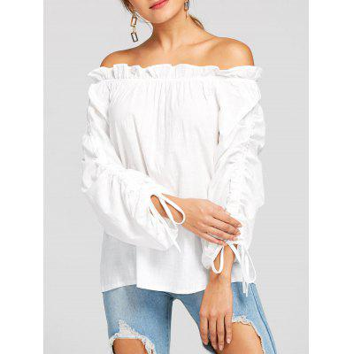 Ruffle Off The Shoulder Ruched Blouse