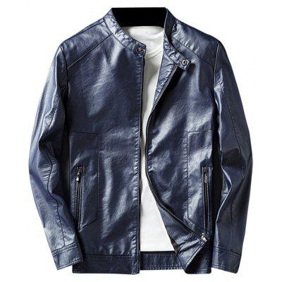 Buy BLUE 3XL Casual Faux Leather Jacket with Zip Pocket for $62.33 in GearBest store