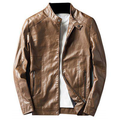 Buy LIGHT BROWN 2XL Casual Faux Leather Jacket with Zip Pocket for $62.33 in GearBest store