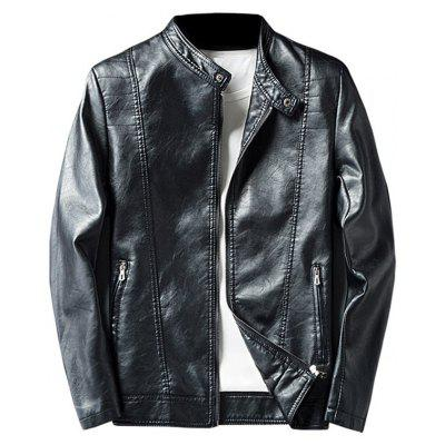 Buy BLACK 3XL Mandarin Collar Zip Up Faux Leather Jacket for $58.50 in GearBest store