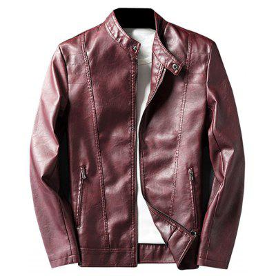 Buy WINE RED 2XL Mandarin Collar Zip Up Faux Leather Jacket for $58.50 in GearBest store