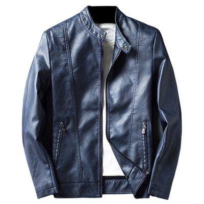 Buy BLUE 2XL Mandarin Collar Zip Up Faux Leather Jacket for $58.50 in GearBest store