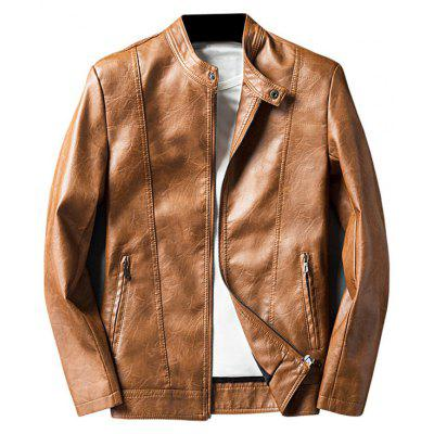 Buy LIGHT BROWN XL Mandarin Collar Zip Up Faux Leather Jacket for $58.50 in GearBest store