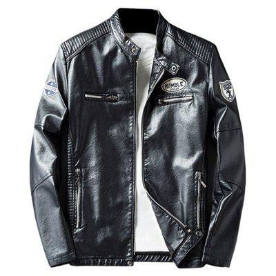 Buy BLACK 2XL Zip Pocket Patch Design Faux Leather Jacket for $63.87 in GearBest store