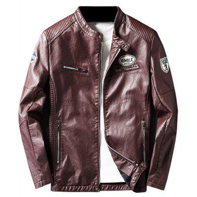 Buy WINE RED 3XL Zip Pocket Patch Design Faux Leather Jacket for $63.87 in GearBest store