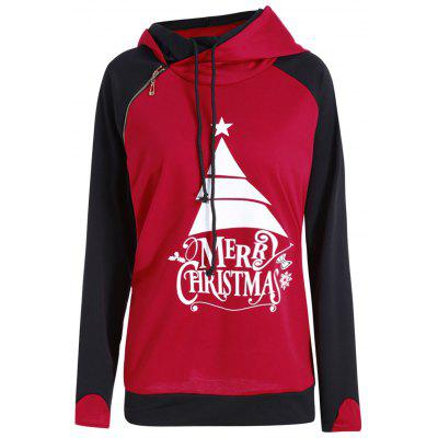Buy RED 3XL Plus Size Hit Color Oblique Zipper Merry Christmas Hoodie for $25.00 in GearBest store
