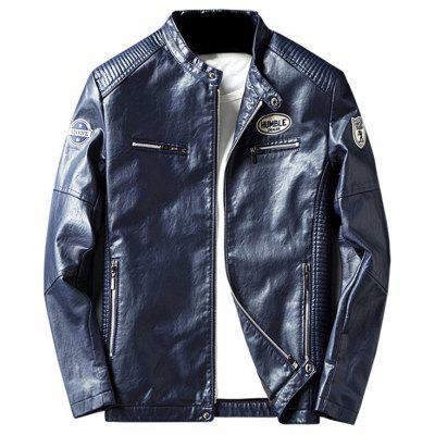 Buy BLUE 3XL Zip Pocket Patch Design Faux Leather Jacket for $63.87 in GearBest store