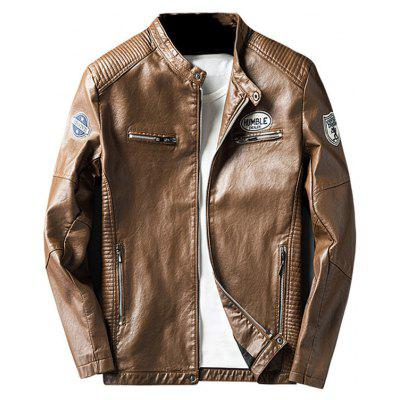 Buy BROWN 3XL Zip Pocket Patch Design Faux Leather Jacket for $63.87 in GearBest store