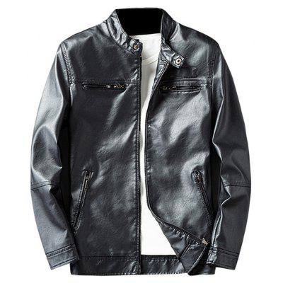 Buy BLACK 3XL Zip Pocket Faux Leather Jacket for $62.75 in GearBest store
